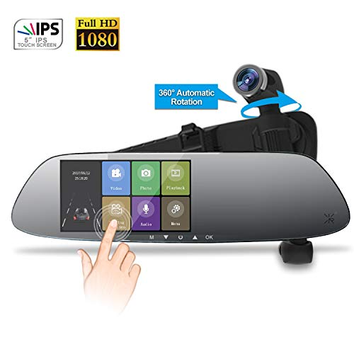 Rearview Mirror Camera Dual Mirror Dash Cam with 16G TF Card Car Video Backup Camera,360°Auto-Rotation Lens with 24H Parking Monitor