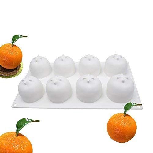 VALINK 8 Cavity orange Silicone Mousse Cake Mold Chocolates Jelly Dessert Fruit Mousse Mould Bakeware Pan for Pastry Fondant Soap Sweet, Baking Mat Mould Kitchen Cake Tin Tool, DIY Baking Mold