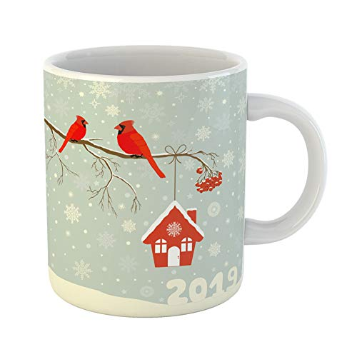 Emvency Coffee Tea Mug Gift 11 Ounces Funny Ceramic Blue Berries Cute Red Cardinal Bird Birdhouse on Branch in Winter Celebration Gifts For Family Friends Coworkers Boss Mug -