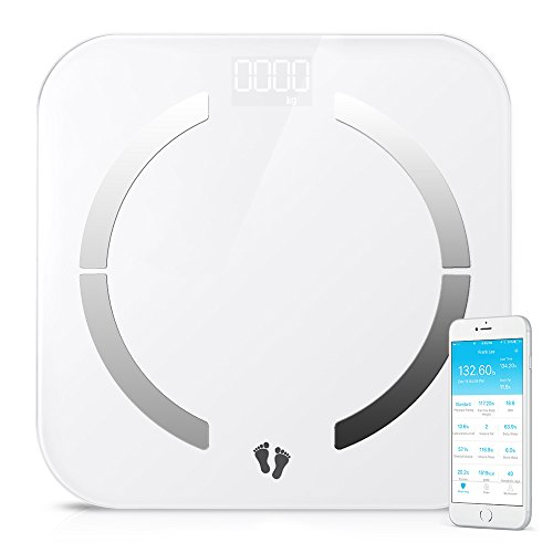 Bluetooth Body Fat Scale, multifun Body Composition Monitor with Smartphone App,Auto Recognition Technology Smart Scale,Tempered Glass Platform for Healthy Weight Loss Tracking Body Scale (Smart Phone Weight Scale)