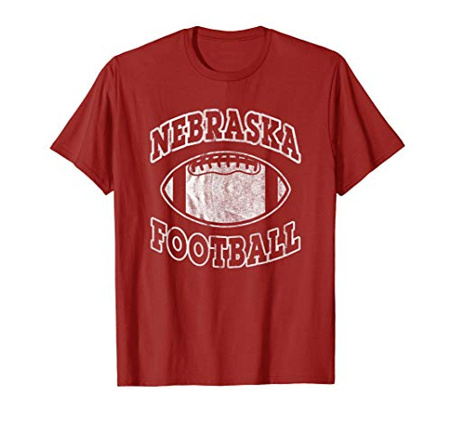 Red Classic Arched T-Shirt - Nebraska Football Vintage Distressed