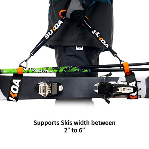 Sukoa Ski & Pole Carrier Straps – Shoulder Sling with Cushioned Holder Protects from Scratches – Downhill Skiing Backcountry Gear Ski Accessories for Men and Women