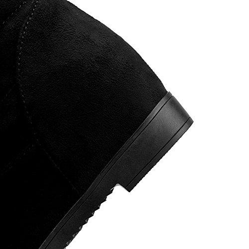 AllhqFashion Mujeres Caña Media Sólido Sin cordones Cuña Botas con Diamante de Imitación Negro