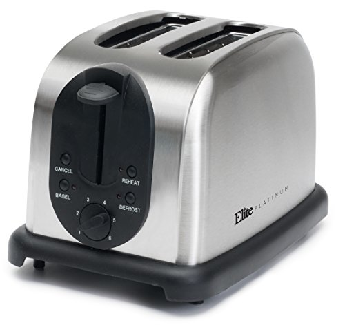 (Elite Platinum ECT-200X Maxi-Matic 2-Slice Toaster, Brushed Stainless Steel)