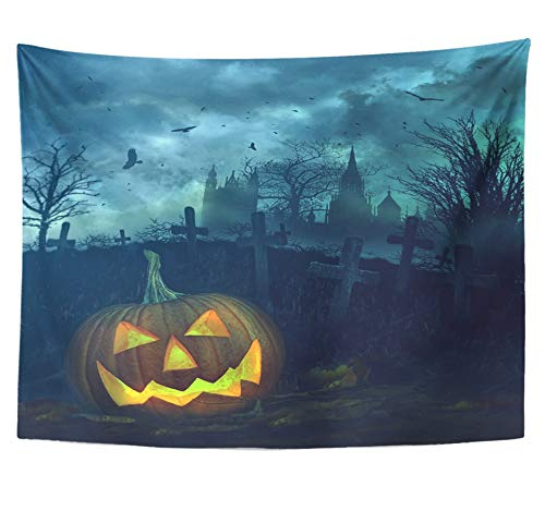 Emvency Tapestry Polyester Fabric Print Home Decor Orange Cemetery Halloween Pumpkin in Spooky Graveyard Clouds Eerie Scary Church Wall Hanging Tapestry for Living Room Bedroom Dorm 60x80 -