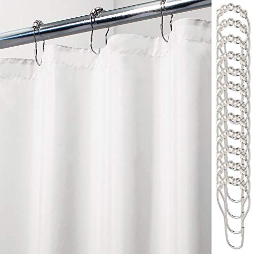- mDesign Long Water Repellent, Mildew Resistant, Heavy Duty Flat Weave Fabric Shower Curtain, Liner - Weighted Bottom Hem - with Shower Rings, for Bathroom Shower and Bathtub, 72