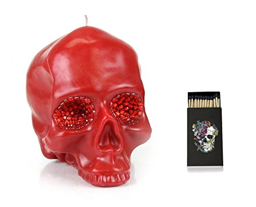 DL & Co Large Red Skull Candle with Crystal Eyes and Skull Matches