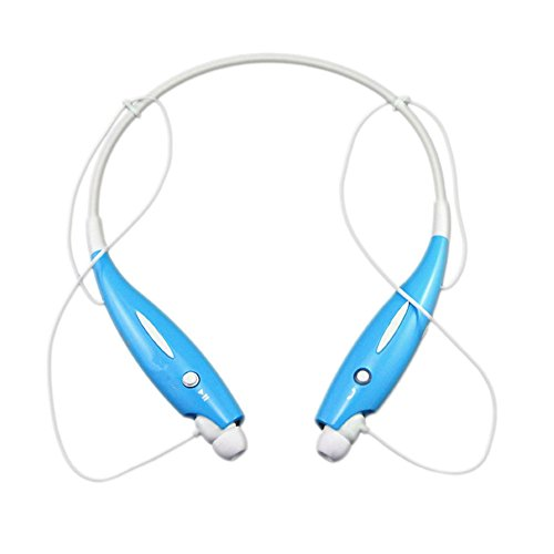 Wireless Bluetooth Sports Music Headset, with Stereo Vibration Neckband Style Earphone Headphone for Cellphones iPhone, Nokia, HTC, Samsung, LG, Moto, PC, iPad, PSP Bluetooth Devices (Blue)
