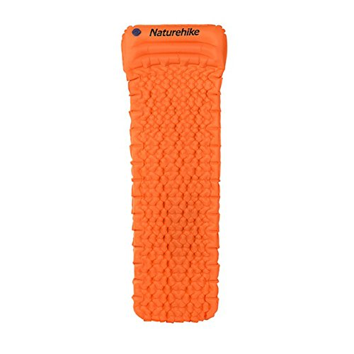 Naturehike Outdoor Inflatable Cushion Sleeping Bag Mat Fast Filling Air Moistureproof Camping Mat With Pillow Sleeping Pad 460g (Orange)