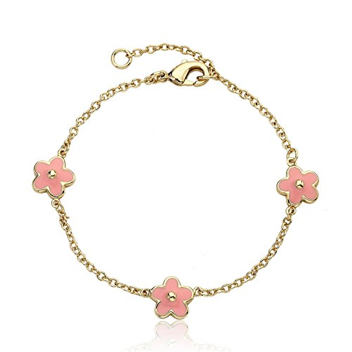 "Little Miss Twin Stars ""Frosted Flowers"" 14k Gold-Plated Pink Enamel Flower Charm Bracelet"