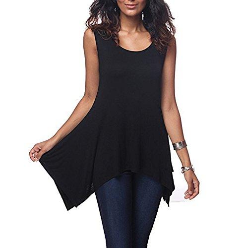 Tueenhuge Womens Casual Loose Solid Sleeveless Irregular Blouse Black