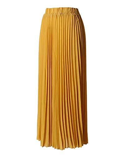 Size Inch La Plissée 26 Yellow color Pour À Jupe Taille Jinsh Femmes Longue Évasée waist L Yellow 77 PwtwXa