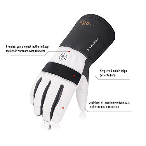 Vgo 2Pairs -23 ℉ or above 3M Thinsulate G200 Lined Goatskin Leather Winter Warm Ski Gloves, Cold Storage Work Gloves, Waterproof Insert (Size XL,Grey,GA8435FW)