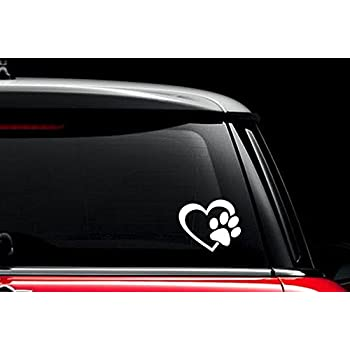Decalgeek heart with dog paw puppy love vinyl decal window sticker for cars trucks