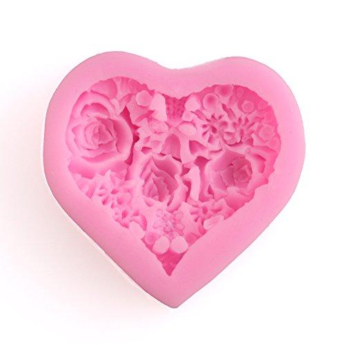 Delidge Gum Paste Moulds Rose Floral Heart Fondant Cupcake Decorating Molds Pink