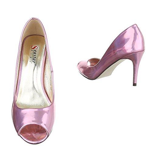 Ital-Design Peep Toe Damenschuhe Peep-Toe Pfennig-/Stilettoabsatz High Heels Pumps Rosa