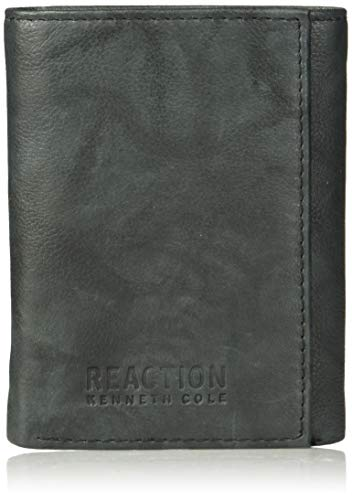 Kenneth Cole Reaction Men's Wallet - RFID Blocking Security Genuine Leather Slim Trifold with ID Window and Card Slots, -black, One sizee