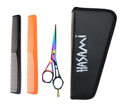 Righty 5.5 Inches Shears Set. Titanium Finish. Scissors Design Handle With Finger Rest. Japan Stainless Steel. Two Hair Combs and Case.