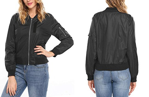 Corgy Women's Winter Quilted Zip Up Raglan Sleeves Padded Bomber Jacket ()