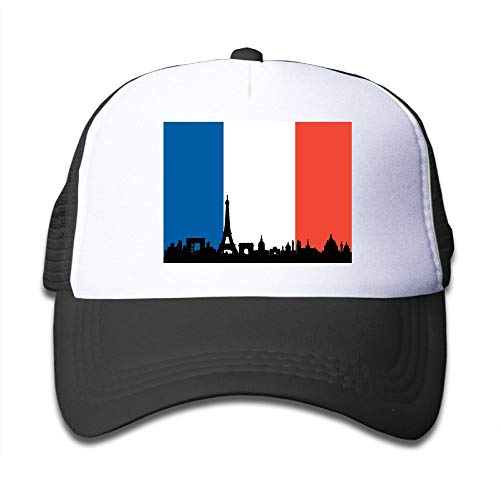 Boys&Girls France Flag Paris Skyline Mesh Cap Cute Kids Trucker Hats Adjustable