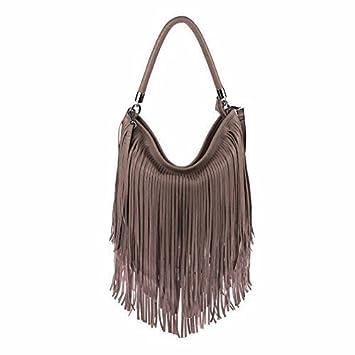 2141271231690 ital-Design Damen Tasche Fransen Shopper Hobo-Bags Umhängetasche  Schultertasche Handtasche Henkeltasche (Schokobraun