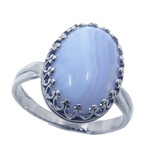 Agate Blue Lace Ring 5-8 Boutique Genuine Oval Gemstone Banded Crystal Healing Adjustable Cooling Energy B01 (Sterling Silver)