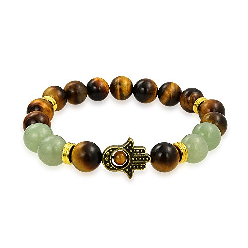- Bling Jewelry Hamsa Hand Brown Tiger Eye Dyed Green Jade Round Bead Strand Stretch Beads Bracelet for Women for Men Gold Plated Metal