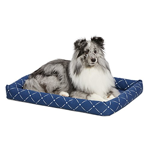 MidWest Homes for Pets 40230-BLD Quiet Time Couture Ashton Bolster Pet Bed, Medium Dog/30, Blue