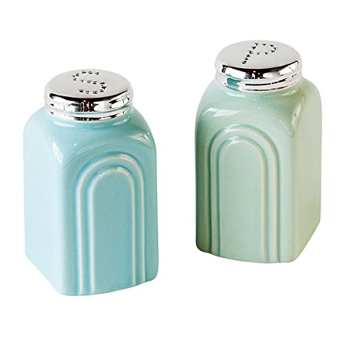 Pale Green and Blue Retro Stoneware Salt and Pepper Shakers Set