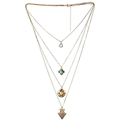 [Romantic Time Four Layers of V Heart-Shaped Style Clavicle Statement Chain Pendant Necklace] (Egyptian Woman Costume Uk)