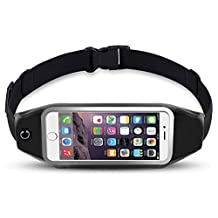 Yingbo Running Belt Waist Pack,Outdoor Dual Large Pocket Sports Sweatproof Reflective Belt Waist Bag Clear Touch Screen Window for iPhone 7 Plus/6S Plus/6S/6/5S/5/SE,Samsung Galaxy S7/S7 Edge