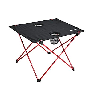 SOVIGOUR Lightweight Folding Camping Table, Portable Compact Roll Up Picnic Table with Cup Holders for Indoor Outdoor Hiking Picnic and Travel - S: Kitchen & Dining