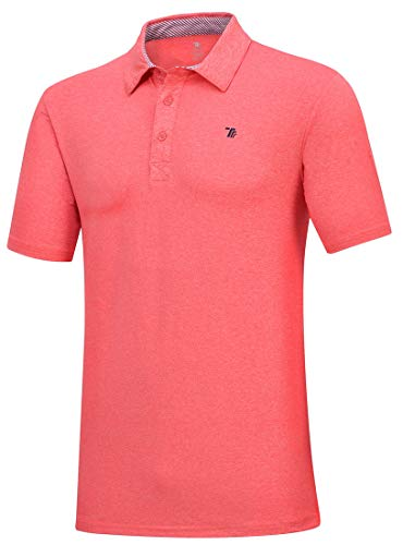 TBMPOY Golf Shirts for Men - Dry Fit Short-Sleeve Polo, Athletic Casual Collared T-Shirt(01pink,us XL)