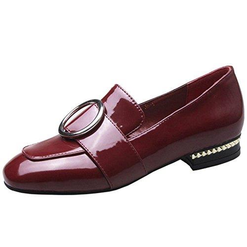 COOLCEPT Women Square Toe Court Shoes Claret ga8lE0iIU