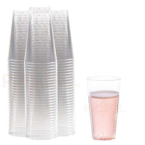 (Clear Plastic Cups | 14 oz. 100 Pack | Hard Disposable Cups | Plastic Wine Cups | Plastic Cocktail Glasses | Large Plastic Drinking Cups | Plastic Party Punch Cups | Bulk Wedding Plastic Tumblers)