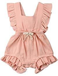 d498c2d1408d Toddler Baby Girl Ruffled Rompers Sleeveless Cotton Romper Bodysuit Jumpsuit  Clothes