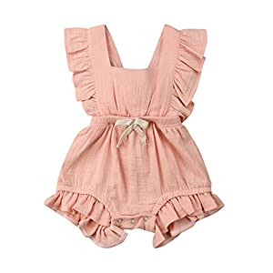 VISGOGO Toddler Baby Girl Ruffled Rompers Sleeveless Cotton Romper Bodysuit Jumpsuit Clothes