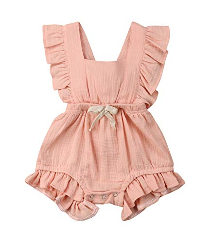(VISGOGO Toddler Baby Girl Ruffled Rompers Sleeveless Cotton Romper Bodysuit Jumpsuit Clothes (0-6 Months, Pink))