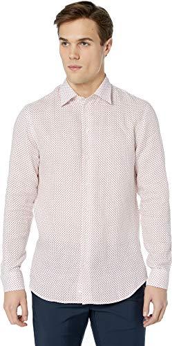 - Emporio Armani Men's Linen Diamond Long Sleeve Cross Sport Shirt White/Red Medium