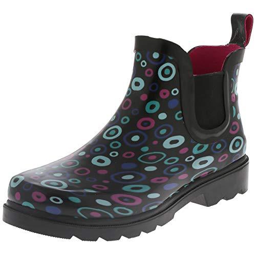 (Capelli New York Ladies Carnival Dots Printed Jodhpur Rain Boots Black Combo 7)