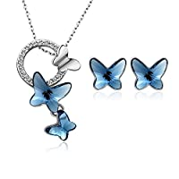 """T400 Jewelers """"Dream Chasers"""" Love Gift Swarovski Elements Crystal Butterfly Fashion Jewelry Sets for Women"""