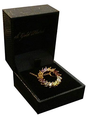 14k Gold Plated Multi-Gemstone Amethyst, Topaz, Blue Topaz, Garnet and Peridot Circle Necklace