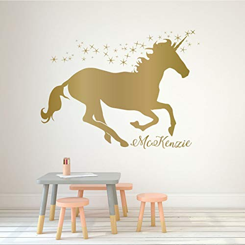 Mural Unicorn Wall - Unicorn Wall Decor Vinyl Decal with Stars and Personalized with Custom Name For Girl's Bedroom, Playroom, Baby Nursery | Choose from Gold, Pink, Purple, Red | Small, Large Sizes