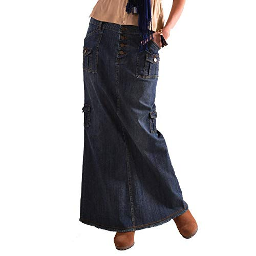 (VEZAD Womens Fashion Long Mid Waist Button Pocket Front Straight Denim Maxi Skirts)