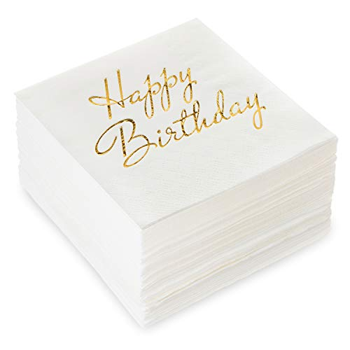 Burnished Gold Happy Birthday Metallic Foil-Stamped Beverage Napkins, 5x5 Inch, Pack of 50, 3-Ply Perfect for Birthday Parties ()