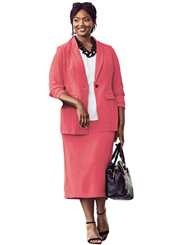 - Jessica London Women's Plus Size Tall Single-Breasted Skirt Suit - Coral Rose, 12 W