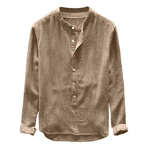 UROSA Men's Summer Casual Solid Color Loose Blouse Button Cotton and Linen Shirt Top 2019 Khaki (Tunes In The Church 2018)