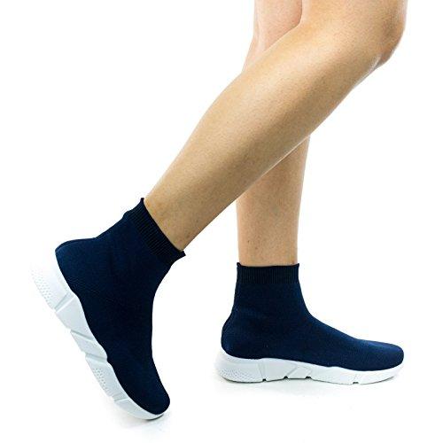 Sneaker Alta In Crochet Stretch Lavorato A Costine Con Intersuola Bianca Blu Navy