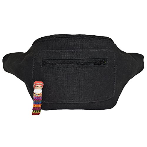 Stylish Classic Canvas Fanny Pack with Hidden Pocket Handmade (Charcoal)