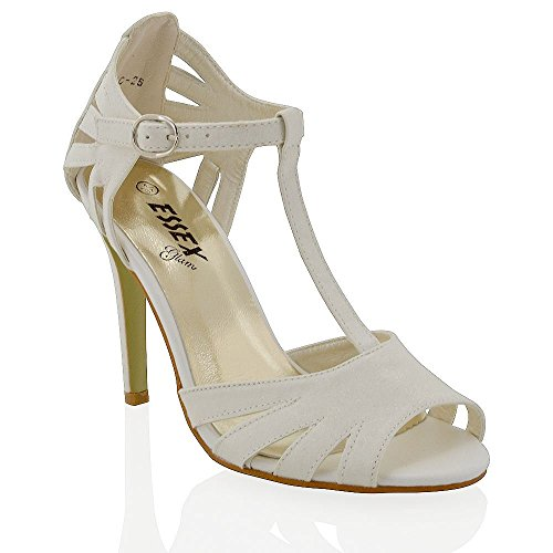 WOMENS STILETTO HIGH HEEL GLITTER LADIES CUT OUT PEEP TOE PARTY SANDALS SHOES White Glitter 0zhJnM